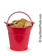 soldi, monete, -, secchio