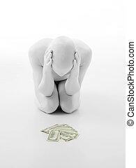 soldi, mucchio, faceless, uomo