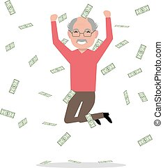 soldi, nonno, salto, vettore, cadere, cartone animato