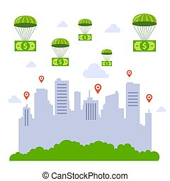 soldi., parachutes., risparmio, governo, soldi, città, ...