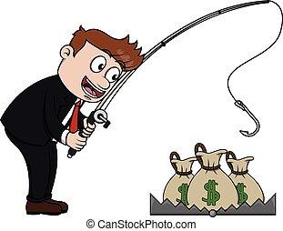 soldi, pesca, uomo affari