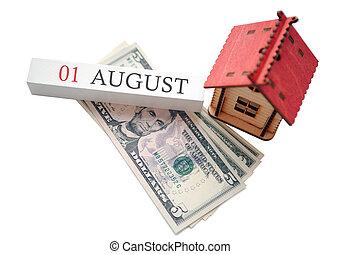soldi, pianificato, casa, 1, finanziario, inizio, concetto, data, calendar., indipendenza, agosto