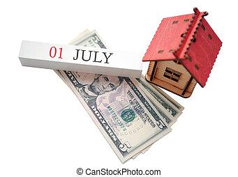 soldi, pianificato, casa, 1, finanziario, inizio, concetto, data, calendar., luglio, indipendenza