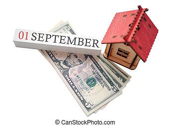 soldi, pianificato, casa, settembre, finanziario, inizio, 1, concetto, data, calendar., indipendenza