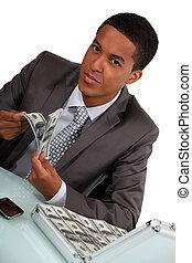 soldi, pieno, cartella, uomo affari