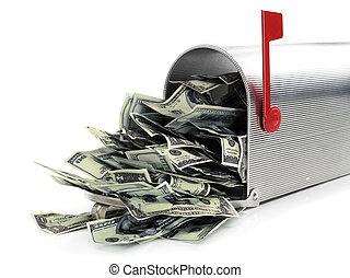 soldi, pieno, cassetta postale