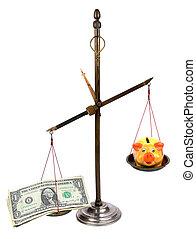 soldi, piggybank, farmacista, scale