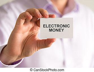 soldi, presa a terra, uomo affari, messaggio, elettronico, scheda