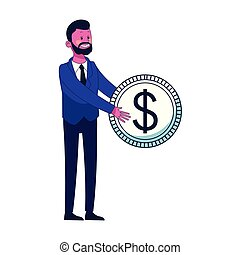 soldi, risparmio, cartone animato, uomo