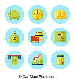 soldi, set., vettore, finanza, icona