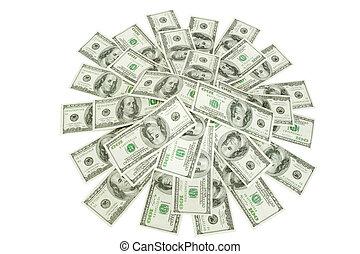 soldi, sopra, mucchio, bianco