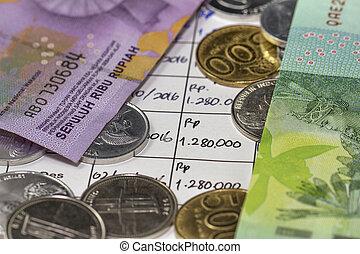 soldi spending, monete, illustrato, mensile, appartenenza, scrittura, pagamento