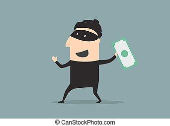 soldi, stile, ladro, cartone animato, mascherato