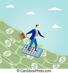 soldi, surfing., affari, concept., soldi, surfing, vettore, illustrati
