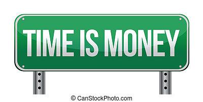 soldi, tempo, illustrazione, segno