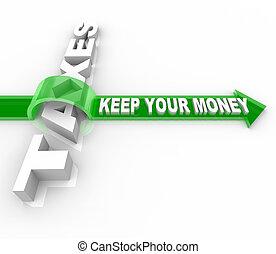 soldi, -, tuo, tasse, custodire