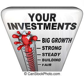 soldi, -, tuo, termometro, fabbricazione, investimenti