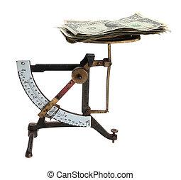 soldi, vecchia lettera, scale