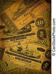 soldi, vecchio, fondo, confederato