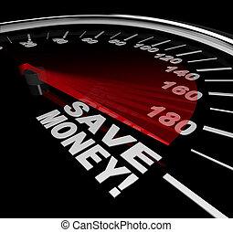 soldi, -, vendita, scontare, parole, risparmiare, tachimetro