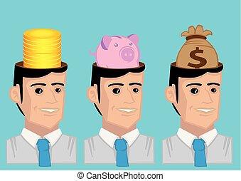 soldi, vettore, carattere, di mentalità, illustrazione