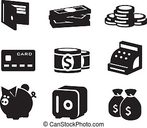 soldi, vettore, set, icone