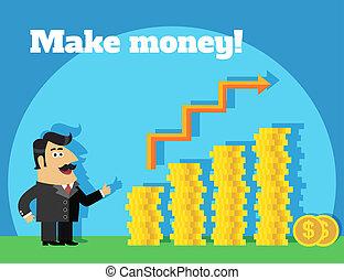 soldi, vita, concetto, fare, affari