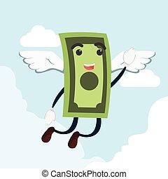 soldi, volare, illustrazione, uomo