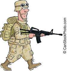 Soldier - A soldier on an isolated background vector ...