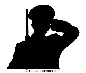 Soldier - A soldier saluting