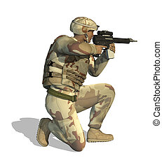 Soldier Aiming Rifle - A soldier aims his rifle - 3D render.