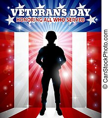 Soldier American Flag Veterans Day Design