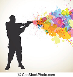 Soldier and Colorful Splashes