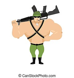 Soldier and rifle on his shoulder. Warrior with gun. Military man in helmet. Machine-gun belt