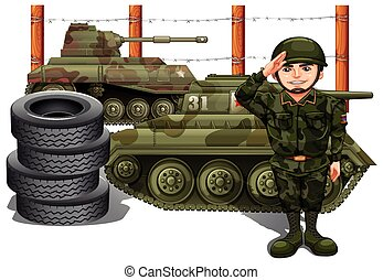 Soldier and two military tanks