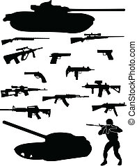 Soldier and weapons silhouette - vector