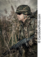 Soldier at war in the swamp