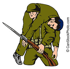 Soldier Carrying Wounded Comrade - Illustration of soldier...