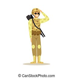 Soldier character wearing camouflage uniform doing a hand salute vector Illustration