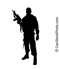soldier - vector illustration of a soldier sihouette