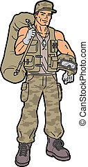 Soldier - Handsome Smiling American Soldier with Duffel Bag