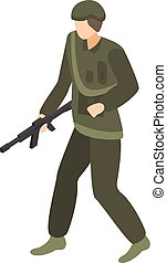Soldier commander icon, isometric style
