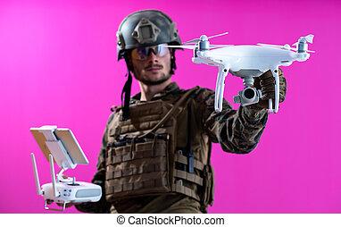 modern warfare soldier as drone pilot technician