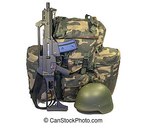 Soldier equipment: automatic rifle, backpack, helmet. ...