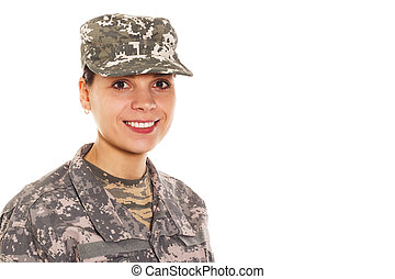 Soldier: girl in the military uniform and hat - Young...