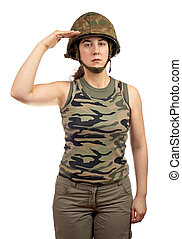 Soldier girl salute