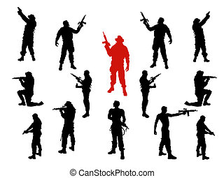 soldier group - silhouette