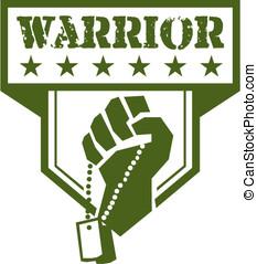 Soldier Hand Clutching Dogtag Warrior Crest Retro
