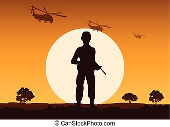 soldier hold gun stand to defend strong point, helicopter fly above