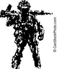 Soldier holding assault rifle on his shoulder. Vector illustration.